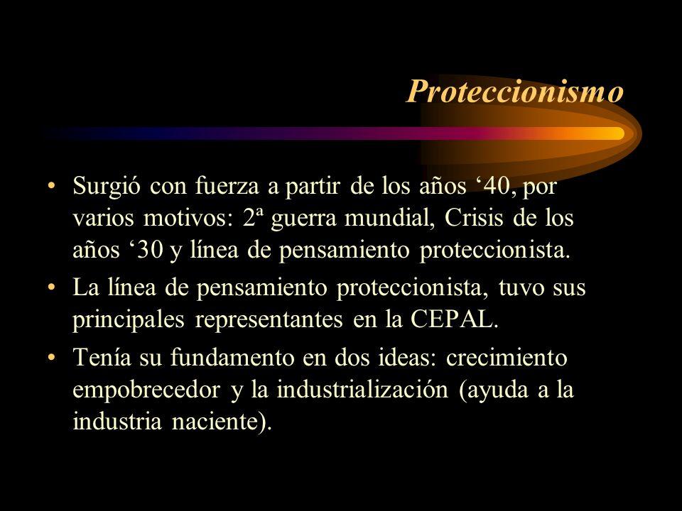 Proteccionismo Surgió con fuerza a partir de los años 40, por varios motivos: 2ª guerra mundial, Crisis de los años 30 y línea de pensamiento protecci