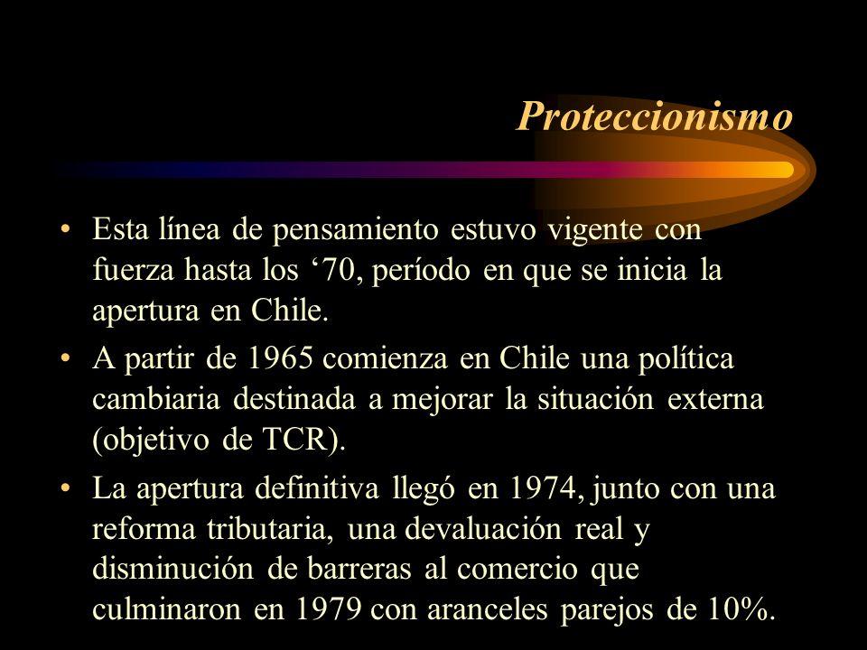 Proteccionismo Esta línea de pensamiento estuvo vigente con fuerza hasta los 70, período en que se inicia la apertura en Chile. A partir de 1965 comie