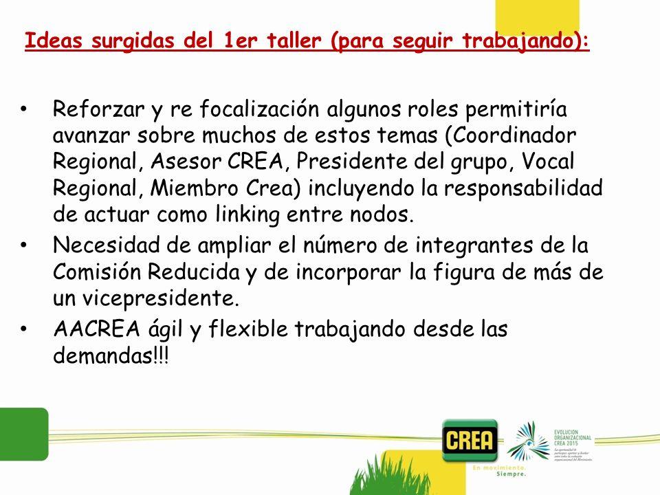 Reforzar y re focalización algunos roles permitiría avanzar sobre muchos de estos temas (Coordinador Regional, Asesor CREA, Presidente del grupo, Voca