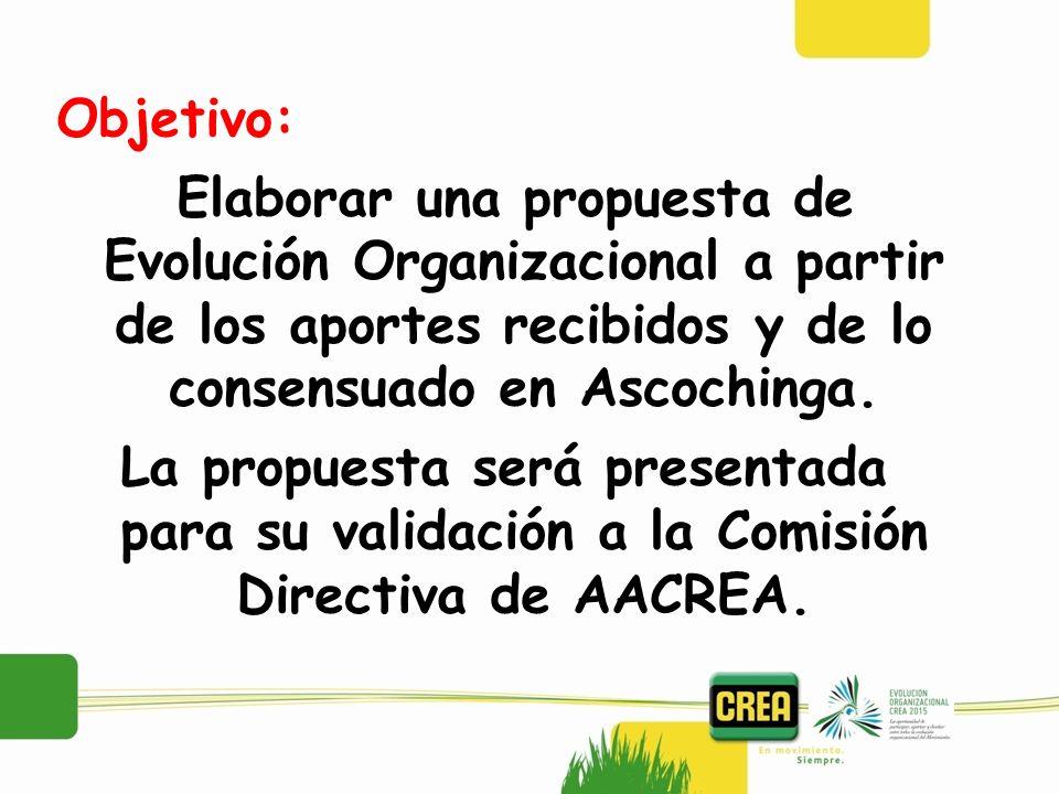 Objetivo: Elaborar una propuesta de Evolución Organizacional a partir de los aportes recibidos y de lo consensuado en Ascochinga. La propuesta será pr