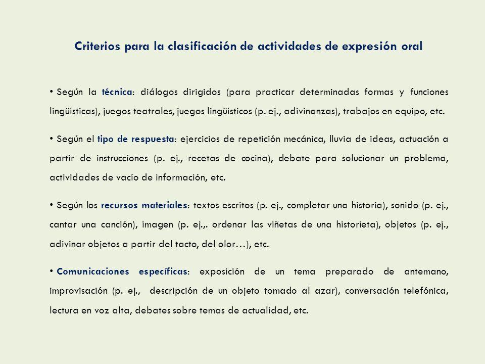 Criterios para la clasificación de actividades de expresión oral Según la técnica: diálogos dirigidos (para practicar determinadas formas y funciones