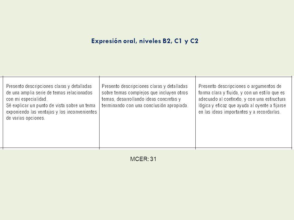 MCER: 31 Expresión oral, niveles B2, C1 y C2