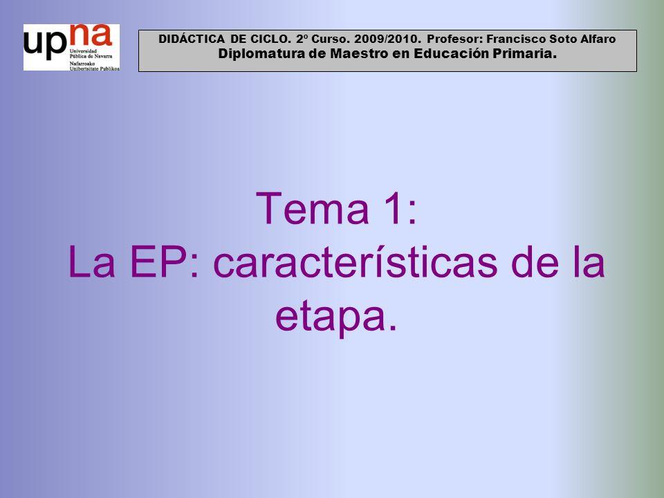 Tema 1: La EP: características de la etapa. DIDÁCTICA DE CICLO. 2º Curso. 2009/2010. Profesor: Francisco Soto Alfaro Diplomatura de Maestro en Educaci