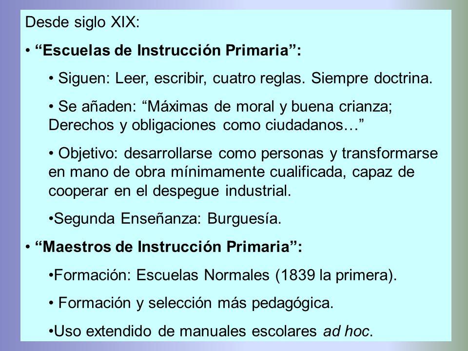 Desde siglo XIX: Escuelas de Instrucción Primaria: Siguen: Leer, escribir, cuatro reglas. Siempre doctrina. Se añaden: Máximas de moral y buena crianz