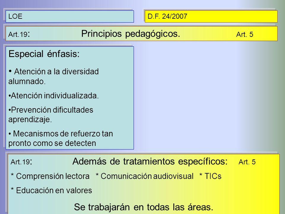 LOED.F. 24/2007 Art.19 : Principios pedagógicos. Art. 5 Especial énfasis: Atención a la diversidad alumnado. Atención individualizada. Prevención difi