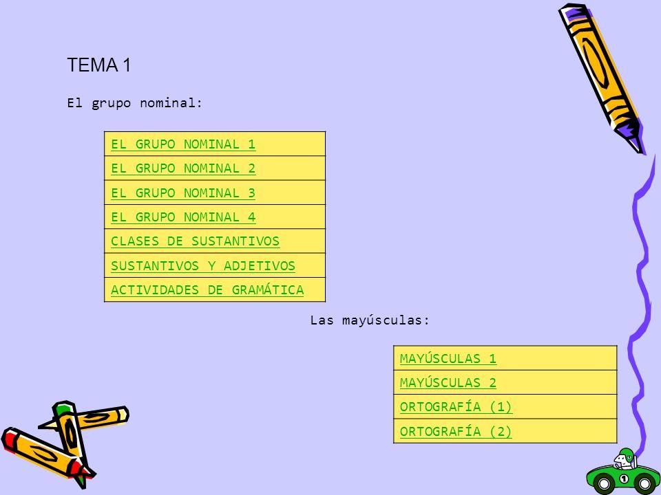 TEMA 1 El grupo nominal: EL GRUPO NOMINAL 1 EL GRUPO NOMINAL 2 EL GRUPO NOMINAL 3 EL GRUPO NOMINAL 4 CLASES DE SUSTANTIVOS Y ADJETIVOS ACTIVIDADES DE