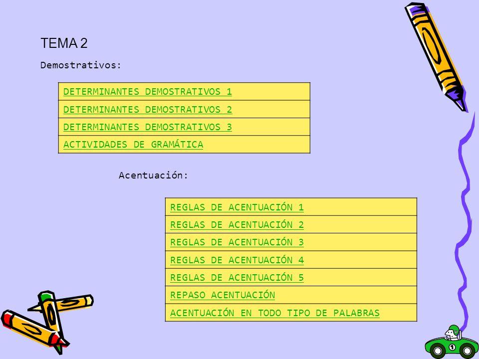 TEMA 2 Demostrativos: DETERMINANTES DEMOSTRATIVOS 1 DETERMINANTES DEMOSTRATIVOS 2 DETERMINANTES DEMOSTRATIVOS 3 ACTIVIDADES DE GRAMÁTICA Acentuación: