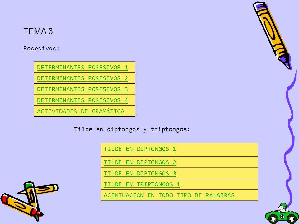 TEMA 3 Posesivos: DETERMINANTES POSESIVOS 1 DETERMINANTES POSESIVOS 2 DETERMINANTES POSESIVOS 3 DETERMINANTES POSESIVOS 4 ACTIVIDADES DE GRAMÁTICA Til
