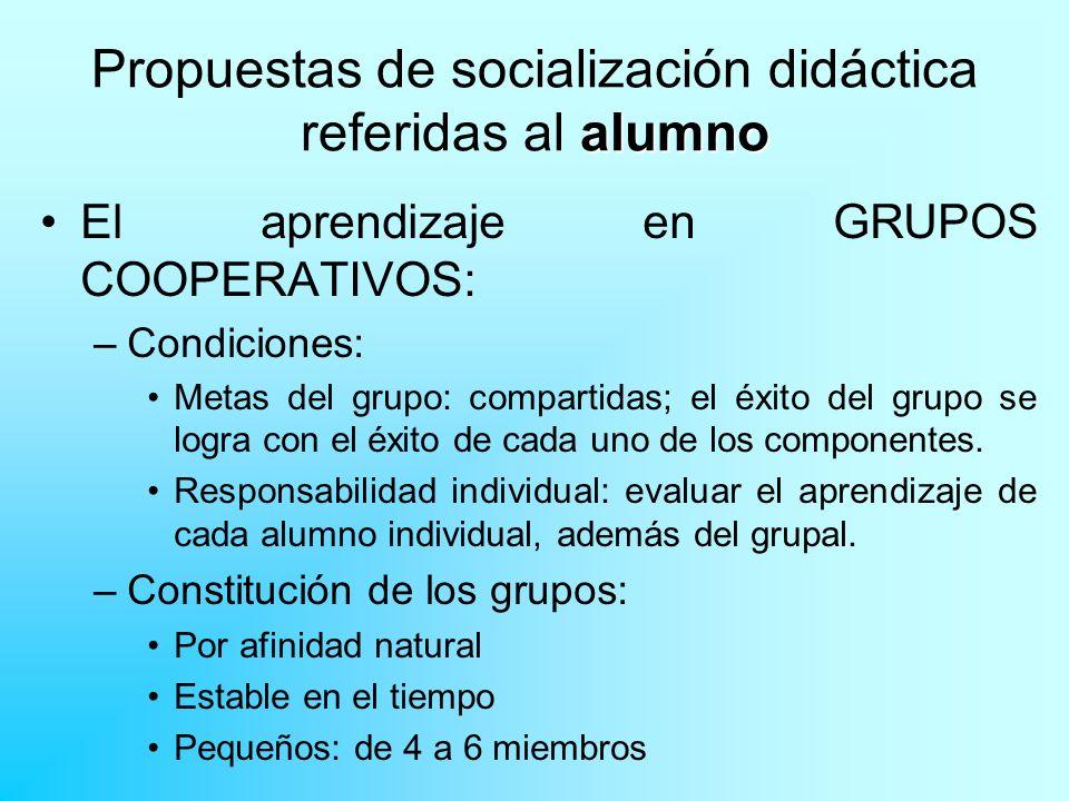 alumno Propuestas de socialización didáctica referidas al alumno El aprendizaje en GRUPOS COOPERATIVOS: –Condiciones: Metas del grupo: compartidas; el