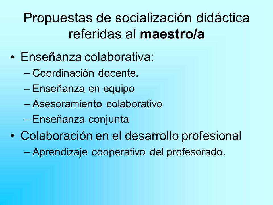 maestro/a Propuestas de socialización didáctica referidas al maestro/a Enseñanza colaborativa: –Coordinación docente. –Enseñanza en equipo –Asesoramie