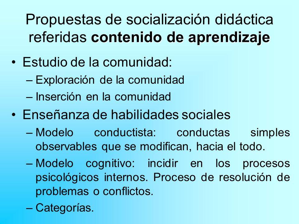 contenido de aprendizaje Propuestas de socialización didáctica referidas contenido de aprendizaje Estudio de la comunidad: –Exploración de la comunida