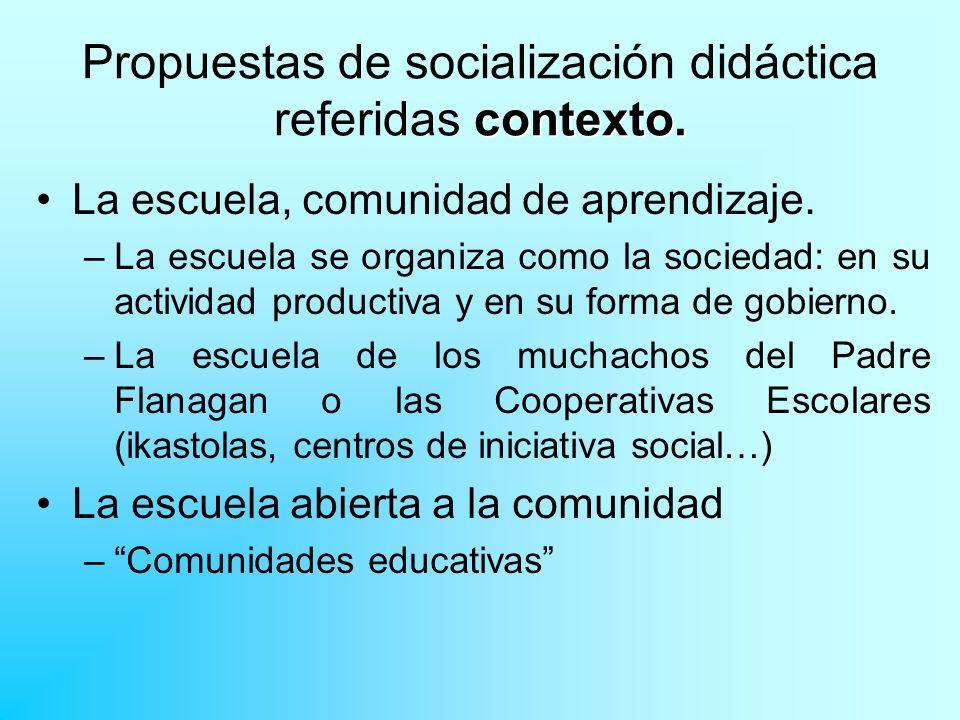 contexto. Propuestas de socialización didáctica referidas contexto. La escuela, comunidad de aprendizaje. –La escuela se organiza como la sociedad: en