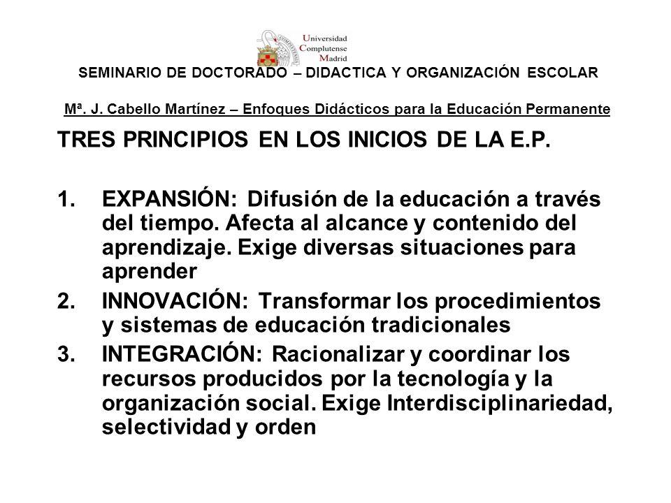 SEMINARIO DE DOCTORADO – DIDÁCTICA Y ORGANIZACIÓN ESCOLAR Mª. J. Cabello Martínez – Enfoques Didácticos para la Educación Permanente TRES PRINCIPIOS E