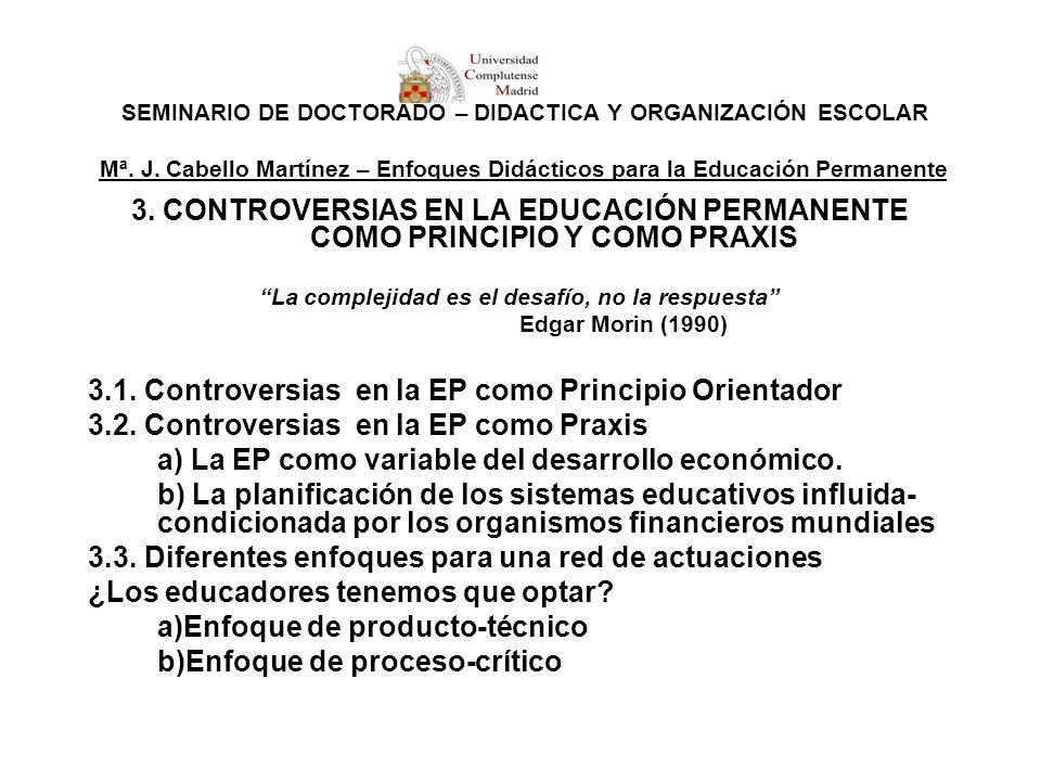SEMINARIO DE DOCTORADO – DIDÁCTICA Y ORGANIZACIÓN ESCOLAR Mª. J. Cabello Martínez – Enfoques Didácticos para la Educación Permanente 3. CONTROVERSIAS