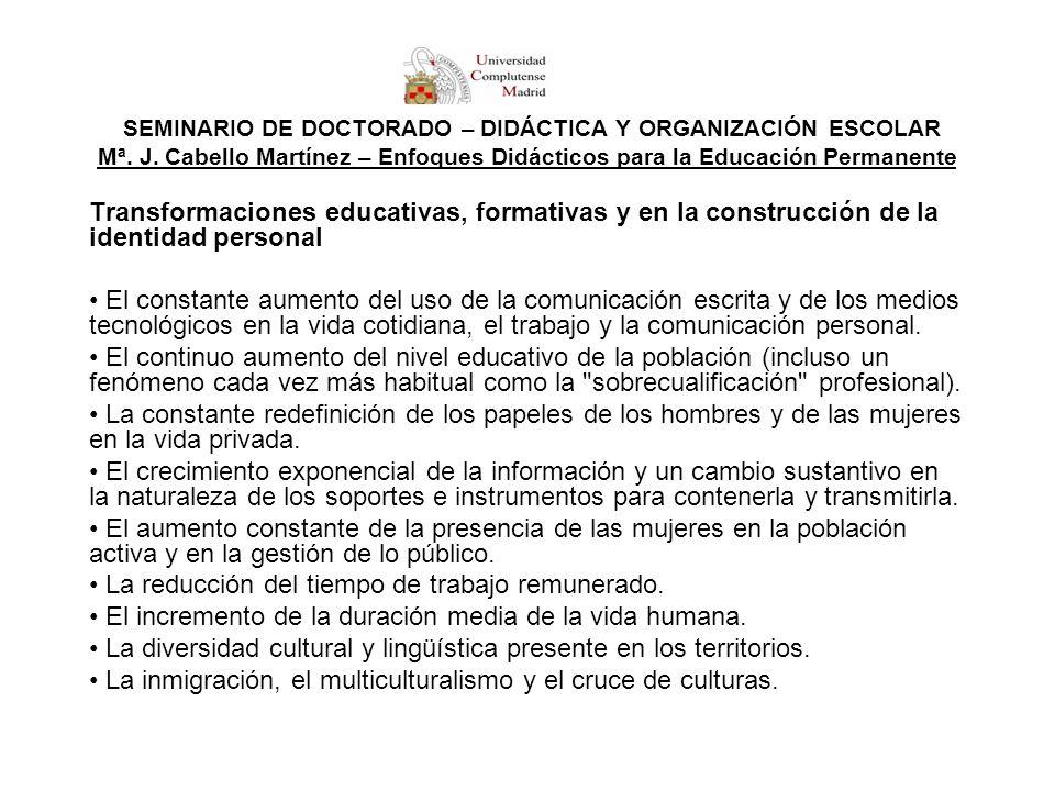 SEMINARIO DE DOCTORADO – DIDÁCTICA Y ORGANIZACIÓN ESCOLAR Mª. J. Cabello Martínez – Enfoques Didácticos para la Educación Permanente Transformaciones