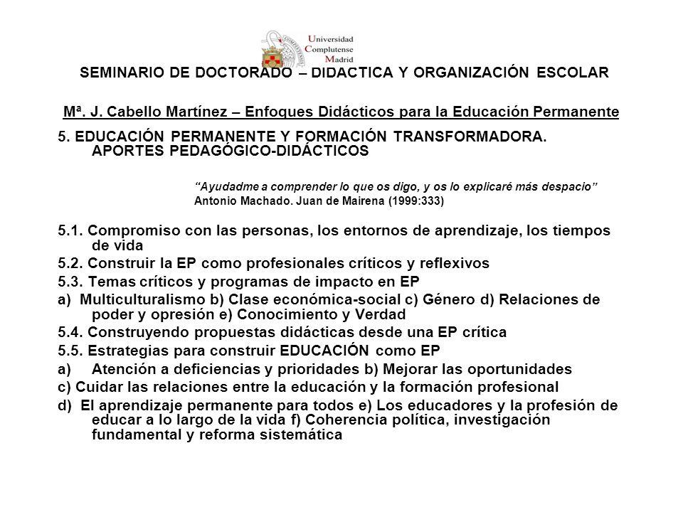 SEMINARIO DE DOCTORADO – DIDÁCTICA Y ORGANIZACIÓN ESCOLAR Mª. J. Cabello Martínez – Enfoques Didácticos para la Educación Permanente 5. EDUCACIÓN PERM