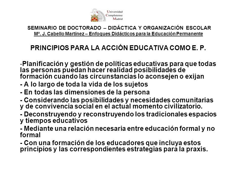 SEMINARIO DE DOCTORADO – DIDÁCTICA Y ORGANIZACIÓN ESCOLAR Mª. J. Cabello Martínez – Enfoques Didácticos para la Educación Permanente PRINCIPIOS PARA L