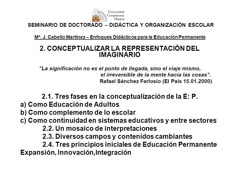 SEMINARIO DE DOCTORADO – DIDÁCTICA Y ORGANIZACIÓN ESCOLAR Mª. J. Cabello Martínez – Enfoques Didácticos para la Educación Permanente 2. CONCEPTUALIZAR