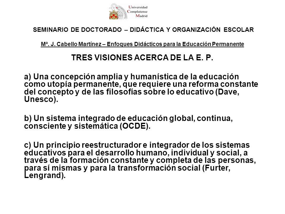 SEMINARIO DE DOCTORADO – DIDÁCTICA Y ORGANIZACIÓN ESCOLAR Mª. J. Cabello Martínez – Enfoques Didácticos para la Educación Permanente TRES VISIONES ACE
