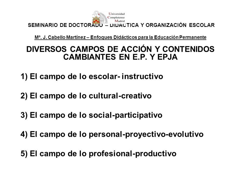 SEMINARIO DE DOCTORADO – DIDÁCTICA Y ORGANIZACIÓN ESCOLAR Mª. J. Cabello Martínez – Enfoques Didácticos para la Educación Permanente DIVERSOS CAMPOS D