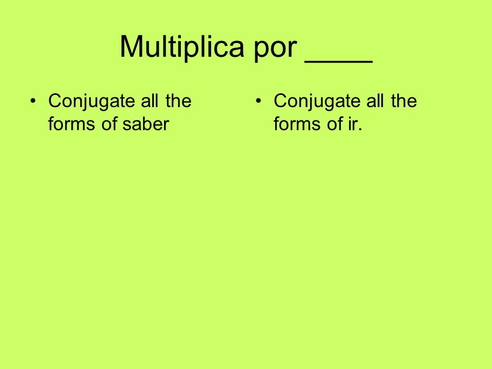 Multiplica por ____ Conjugate all the forms of saber Conjugate all the forms of ir.