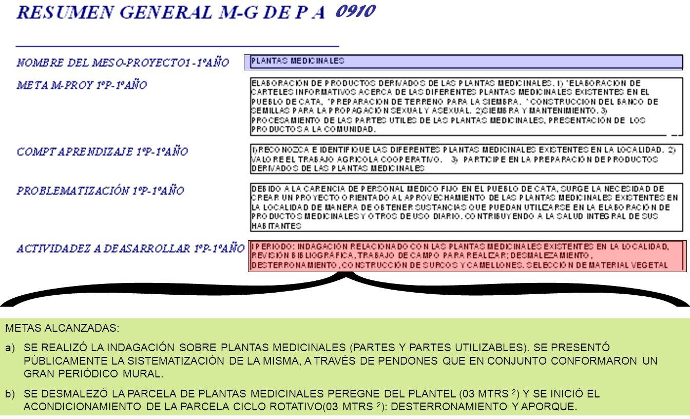METAS ALCANZADAS: a)SE REALIZÓ LA INDAGACIÓN SOBRE PLANTAS MEDICINALES (PARTES Y PARTES UTILIZABLES). SE PRESENTÓ PÚBLICAMENTE LA SISTEMATIZACIÓN DE L