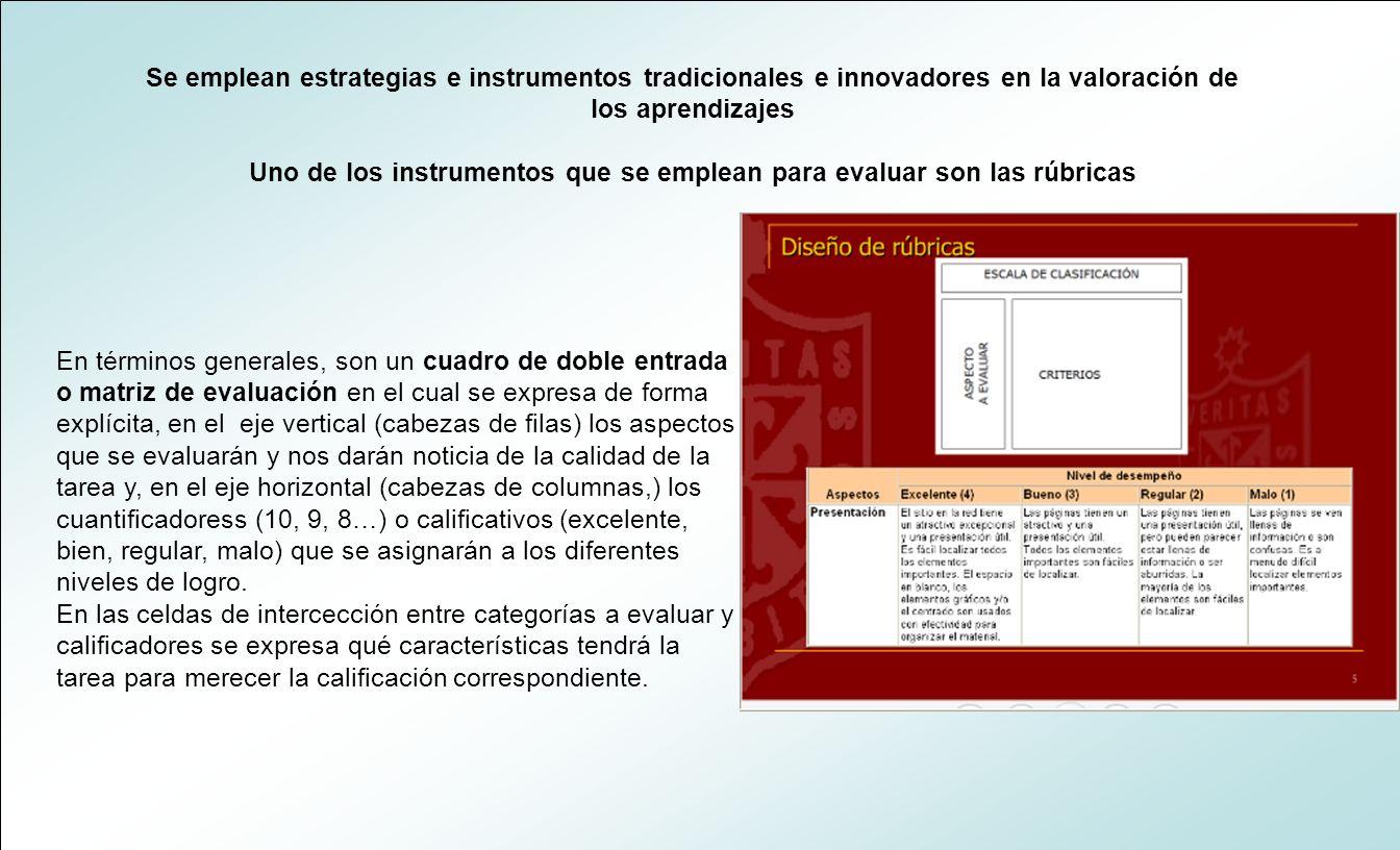 Se emplean estrategias e instrumentos tradicionales e innovadores en la valoración de los aprendizajes Uno de los instrumentos que se emplean para eva
