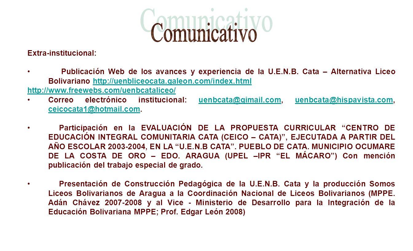 Extra-institucional: Publicación Web de los avances y experiencia de la U.E.N.B. Cata – Alternativa Liceo Bolivariano http://uenbliceocata.galeon.com/