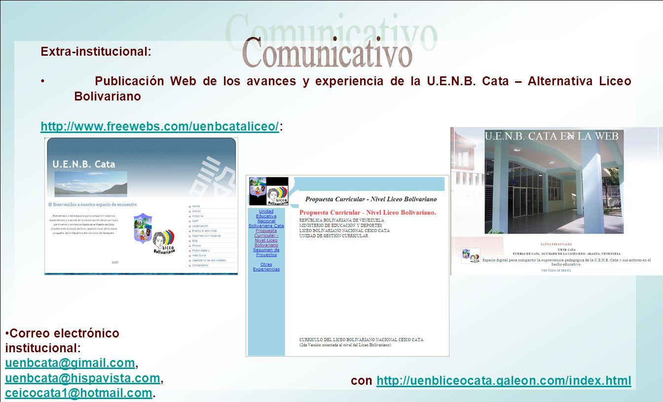 Extra-institucional: Publicación Web de los avances y experiencia de la U.E.N.B. Cata – Alternativa Liceo Bolivariano http://www.freewebs.com/uenbcata