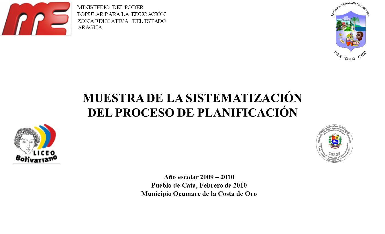 MUESTRA DE LA SISTEMATIZACIÓN DEL PROCESO DE PLANIFICACIÓN Año escolar 2009 – 2010 Pueblo de Cata, Febrero de 2010 Municipio Ocumare de la Costa de Or