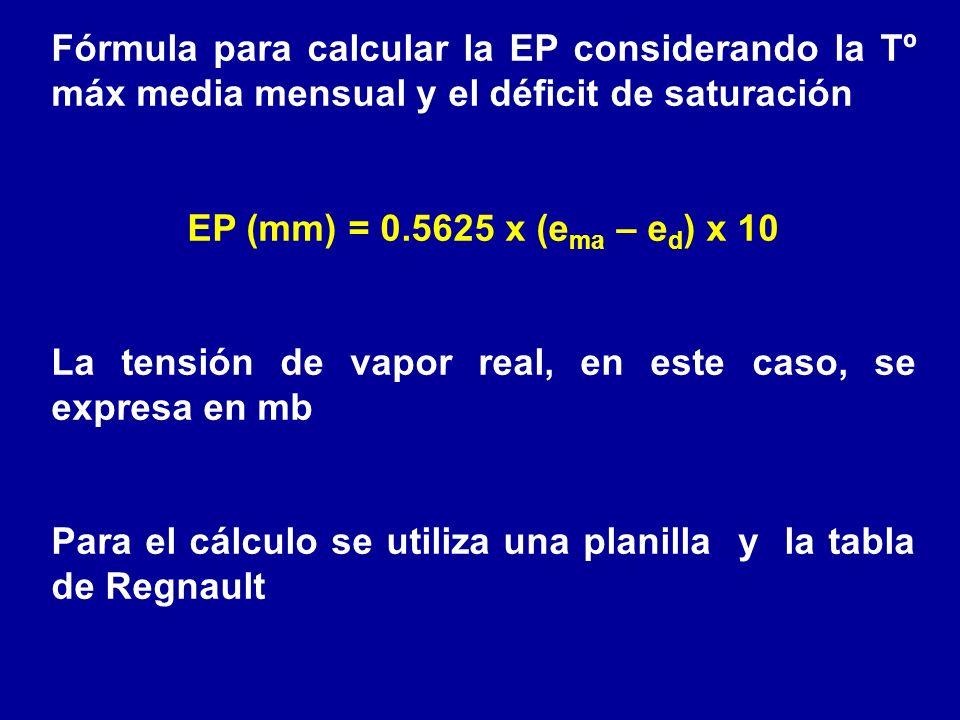 Fórmula para calcular la EP considerando la Tº máx media mensual y el déficit de saturación EP (mm) = 0.5625 x (e ma – e d ) x 10 La tensión de vapor