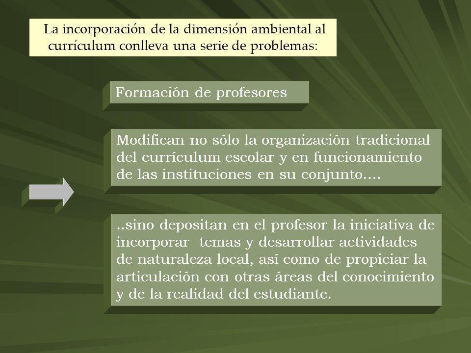 La incorporación de la dimensión ambiental al currículum conlleva una serie de problemas: Formación de profesores Modifican no sólo la organización tr