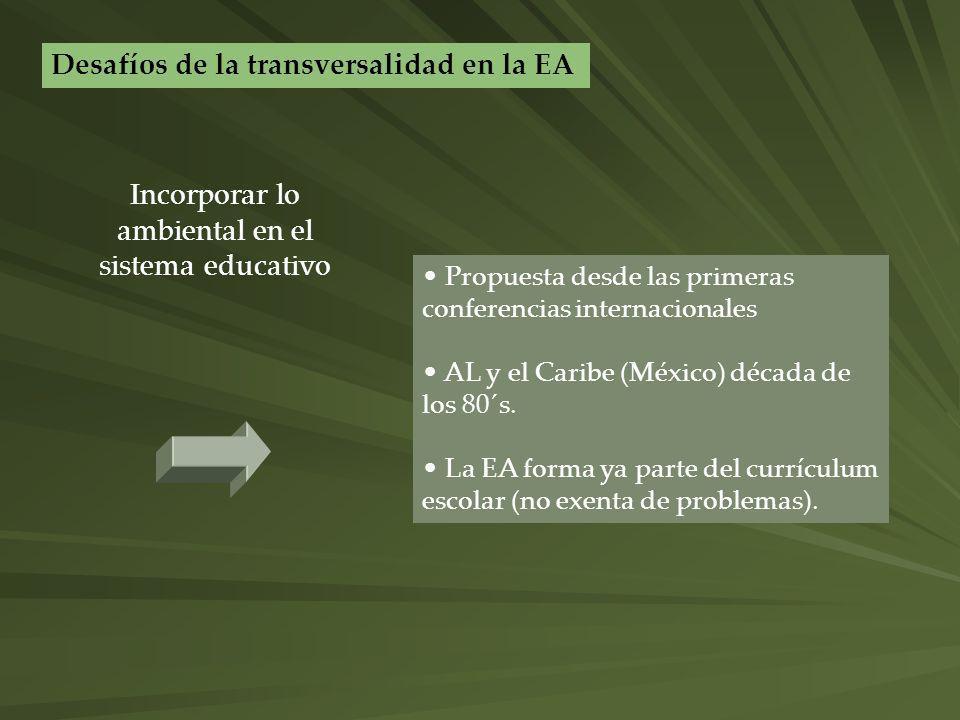 Propuesta desde las primeras conferencias internacionales AL y el Caribe (México) década de los 80´s. La EA forma ya parte del currículum escolar (no