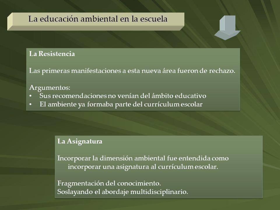 La educación ambiental en la escuela La Resistencia Las primeras manifestaciones a esta nueva área fueron de rechazo. Argumentos: Sus recomendaciones