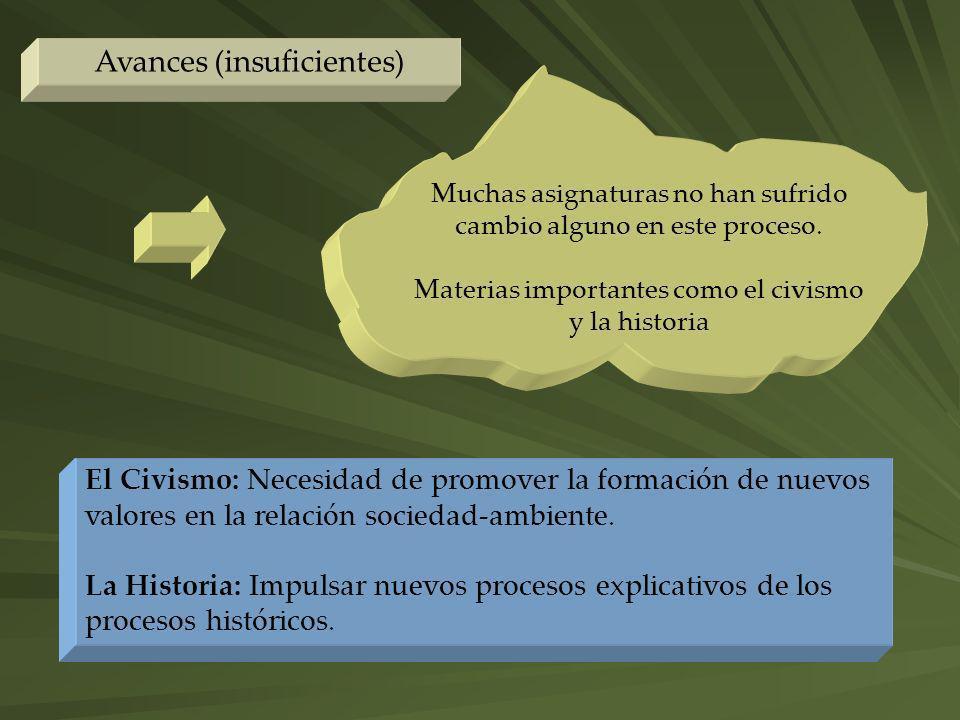 Avances (insuficientes) El Civismo: Necesidad de promover la formación de nuevos valores en la relación sociedad-ambiente. La Historia: Impulsar nuevo