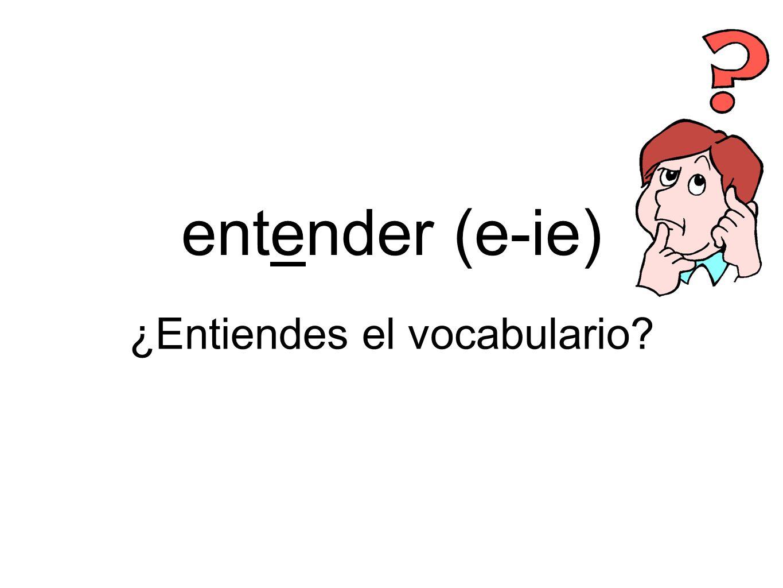 entender (e-ie) ¿Entiendes el vocabulario?