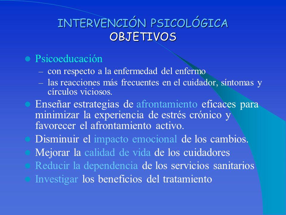 INTERVENCIÓN PSICOLÓGICA OBJETIVOS Psicoeducación – con respecto a la enfermedad del enfermo – las reacciones más frecuentes en el cuidador, síntomas