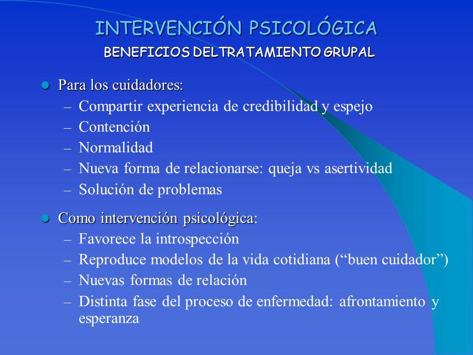 INTERVENCIÓN PSICOLÓGICA BENEFICIOS DELTRATAMIENTO GRUPAL Para los cuidadores: Para los cuidadores: – Compartir experiencia de credibilidad y espejo –