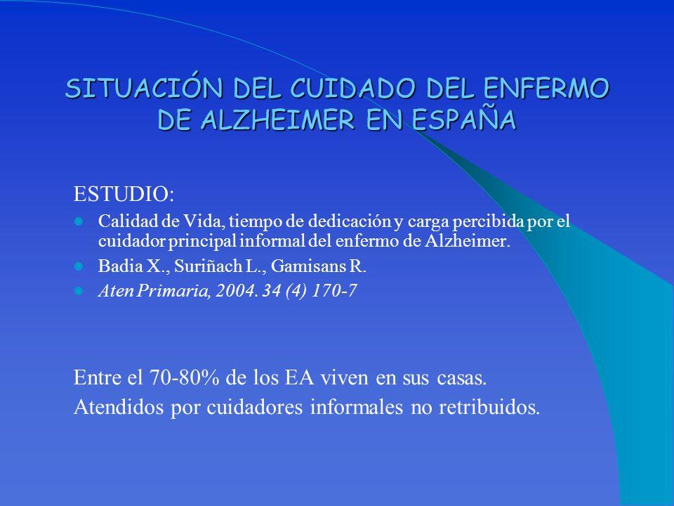 SITUACIÓN DEL CUIDADO DEL ENFERMO DE ALZHEIMER EN ESPAÑA ESTUDIO: Calidad de Vida, tiempo de dedicación y carga percibida por el cuidador principal in