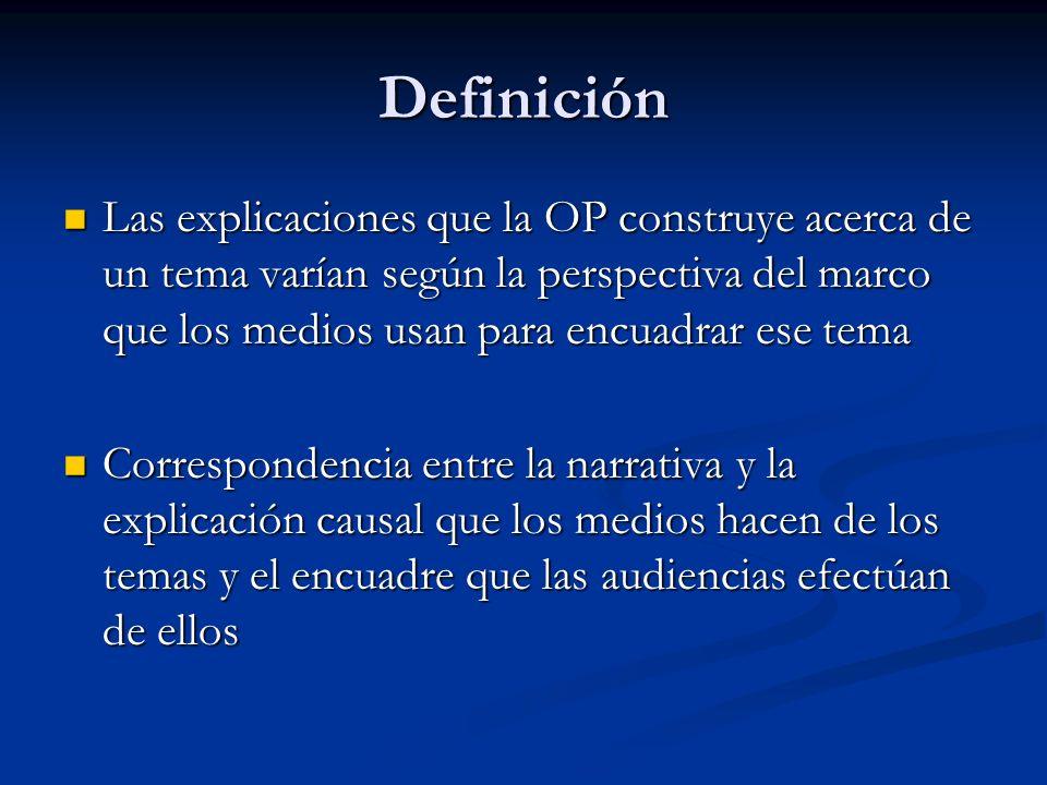 Definición Las explicaciones que la OP construye acerca de un tema varían según la perspectiva del marco que los medios usan para encuadrar ese tema L