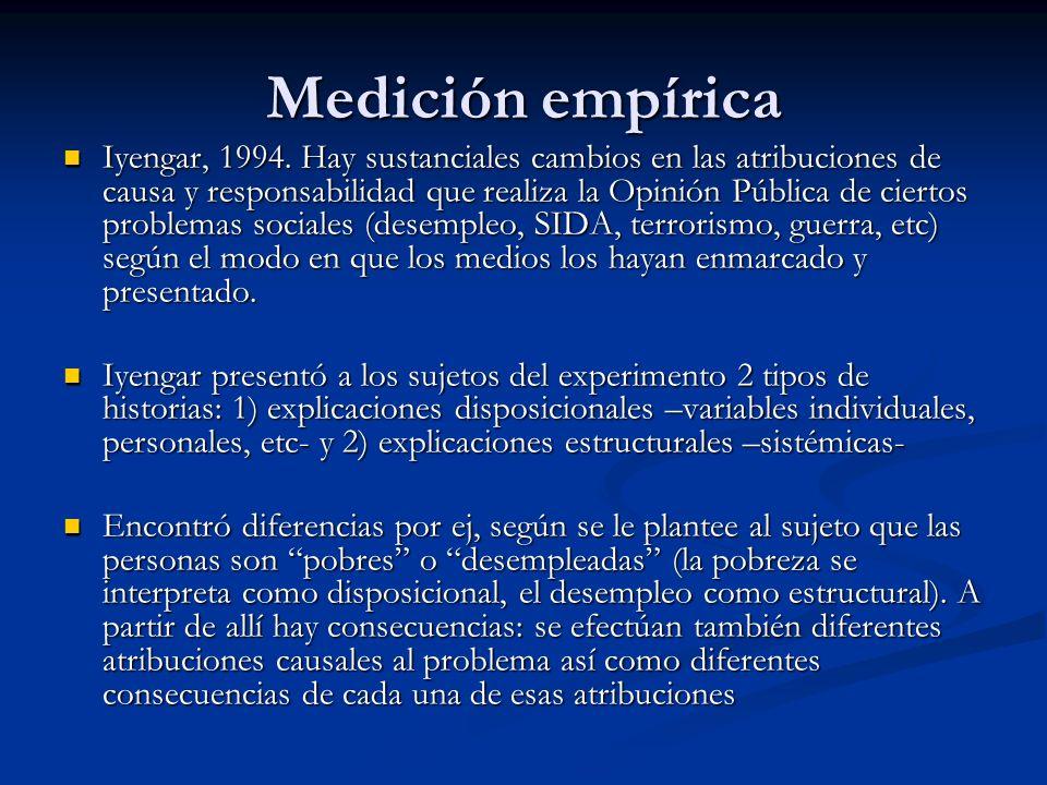 Medición empírica Iyengar, 1994. Hay sustanciales cambios en las atribuciones de causa y responsabilidad que realiza la Opinión Pública de ciertos pro
