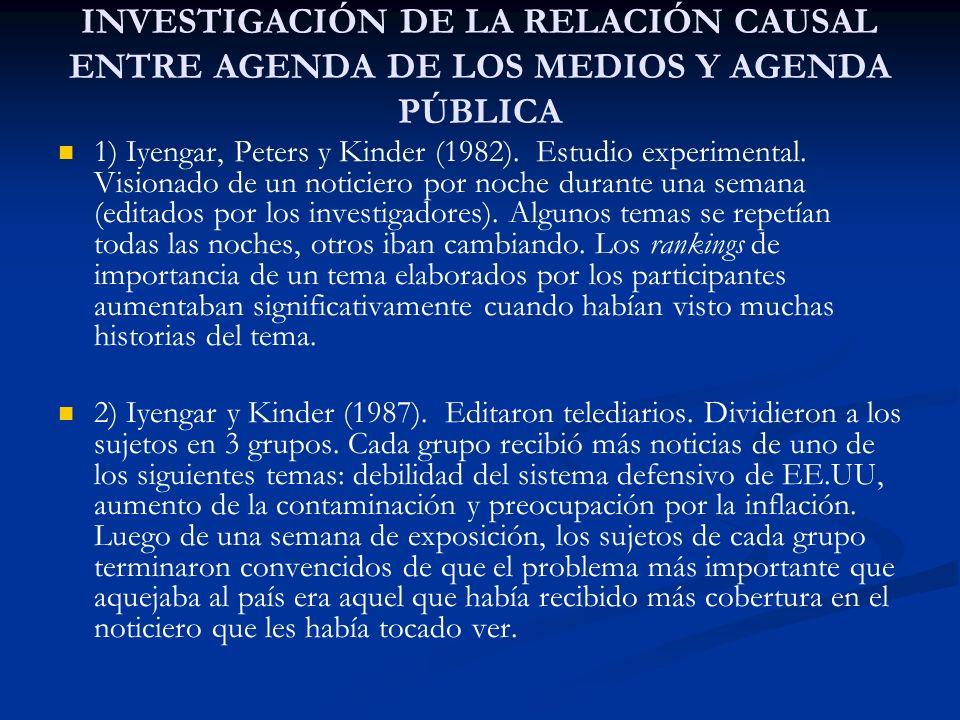 INVESTIGACIÓN DE LA RELACIÓN CAUSAL ENTRE AGENDA DE LOS MEDIOS Y AGENDA PÚBLICA 1) Iyengar, Peters y Kinder (1982). Estudio experimental. Visionado de