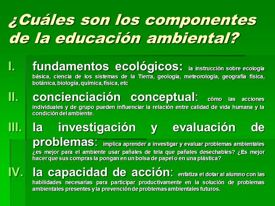 ¿Cuáles son los componentes de la educación ambiental? I.fundamentos ecológicos: la instrucción sobre ecología básica, ciencia de los sistemas de la T