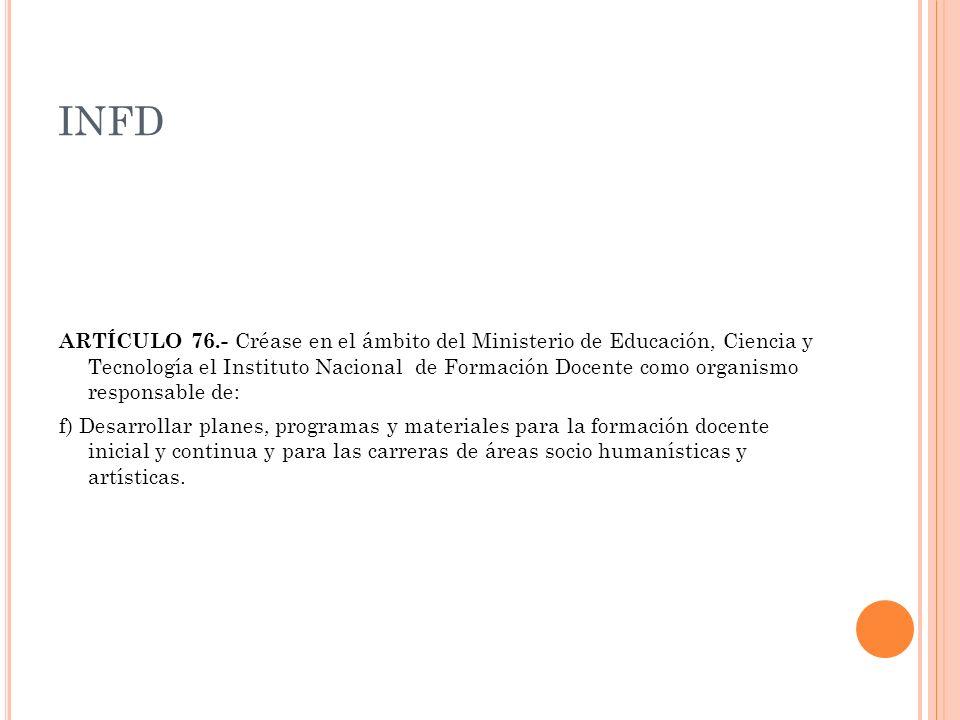 INFD ARTÍCULO 76.- Créase en el ámbito del Ministerio de Educación, Ciencia y Tecnología el Instituto Nacional de Formación Docente como organismo res