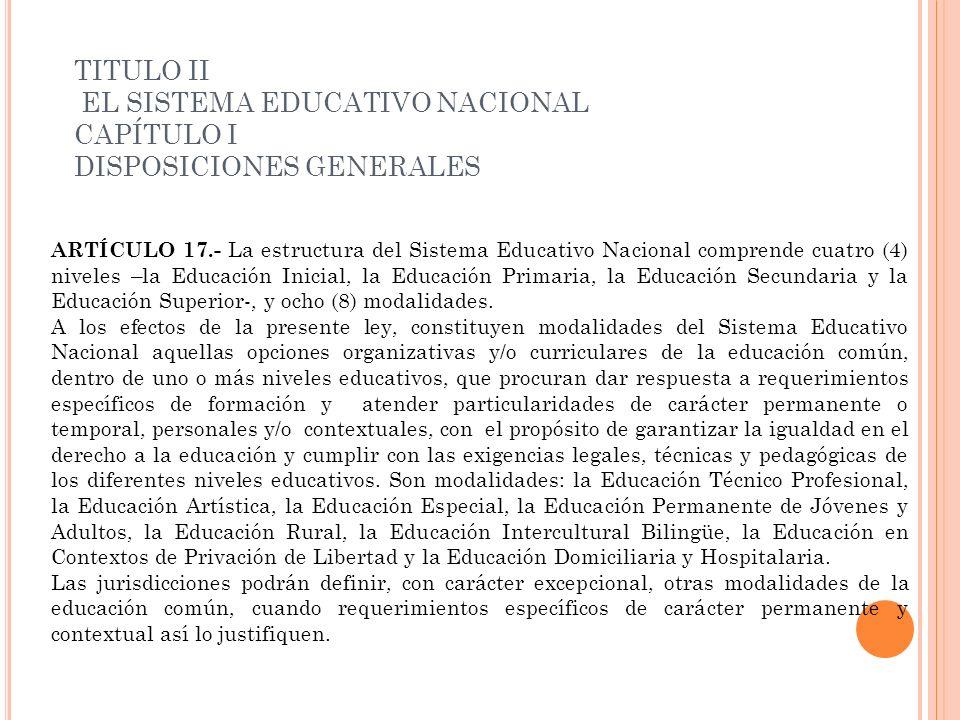 ARTÍCULO 17.- La estructura del Sistema Educativo Nacional comprende cuatro (4) niveles –la Educación Inicial, la Educación Primaria, la Educación Sec