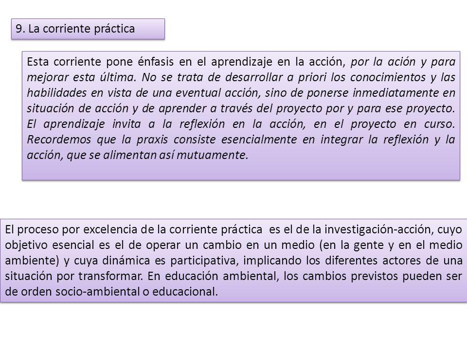 9. La corriente práctica Esta corriente pone énfasis en el aprendizaje en la acción, por la ación y para mejorar esta última. No se trata de desarroll