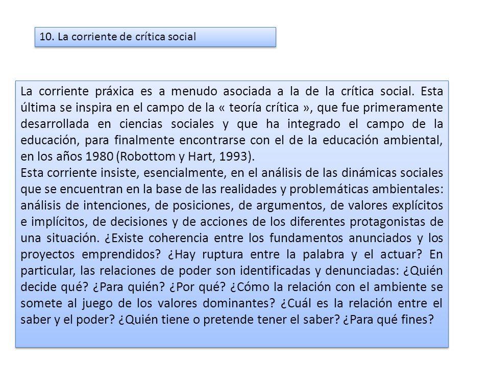 10. La corriente de crítica social La corriente práxica es a menudo asociada a la de la crítica social. Esta última se inspira en el campo de la « teo