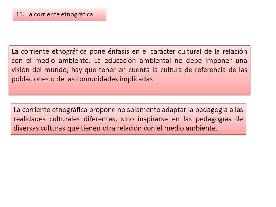 11. La corriente etnográfica La corriente etnográfica pone énfasis en el carácter cultural de la relación con el medio ambiente. La educación ambienta