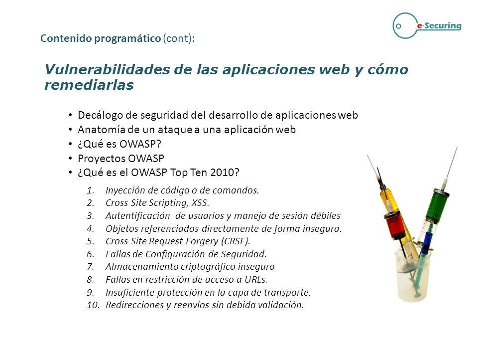 Vulnerabilidades de las aplicaciones web y cómo remediarlas Cada uno de los tipos de vulnerabilidades del top 10 OWASP serán probados por los asistentes mediante ejercicios de ataque e intrusión a una aplicación web deliberadamente vulnerable.