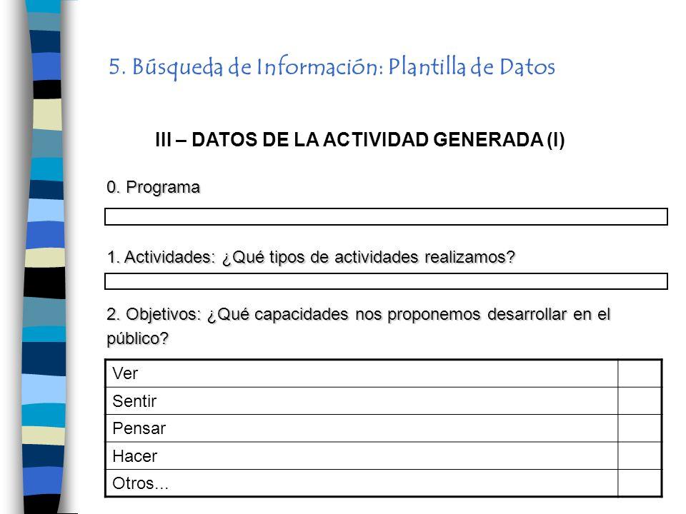 5. Búsqueda de Información: Plantilla de Datos III – DATOS DE LA ACTIVIDAD GENERADA (I) 1. Actividades: ¿Qué tipos de actividades realizamos? 2. Objet